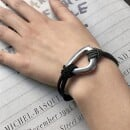 -Ines black/grey bracelet in trimming and triangle element-31