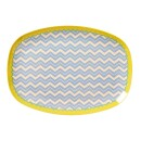 Rice-Rice Melamine Plate Oval Plate with Chevron Print-30