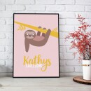 """heartcovered-Personalized Poster A3 """"Sloth""""-3"""