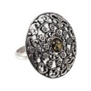 BalticBuy-Round silver ring with green amber eye-31