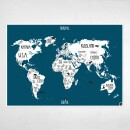 "Amy and Kurt Berlin-A1 poster ""World map"" petrol blue-31"