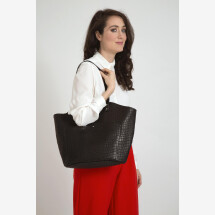 -Black leather shopper with crocodile look Menorca-21