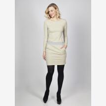 -Sweat dress Juna dots mustard gray cotton-22