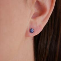 -14K Gold Round Sapphire Stud Earrings-21