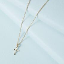 -14K Gold Vertical Cross Necklace-21