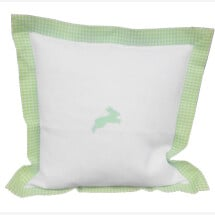 -White and green check linen pillow with embroidered rabbit pattern-21