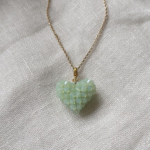 -Chain with removable heart pendant in green opal can also be used as a bag pendant-2