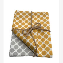 -Tea towel set with polka dots in mustard and light gray-21