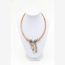 -Syloschmuck necklace made of cork with an upcycling porcelain pendant traditional costume jewelry-21