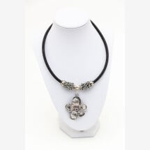 -Sylo jewelry necklace made of cork in black with a flower and upcycling coffee capsules-21