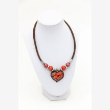 -Syloschmuck necklace made of cork in dark brown with a glass heart in orange costume jewelery-21