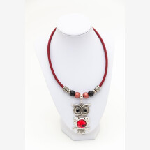 -Syloschmuck costume jewelery necklace made of cork with an owl-21
