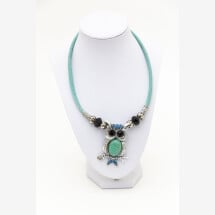 -Sylo jewelry womens necklace made of cork with an owl in turquoise-21