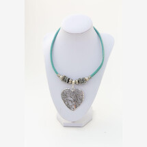 -Syloschmuck costume jewelery necklace made of cork with a heart with a tree of life and upcycling coffee capsules-21