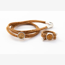 -Sylo jewelry jewelry set wrap bracelet and ring made of cork with a cabochon-21