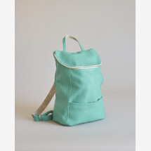 -Backpack Petite May leather dark mint-21