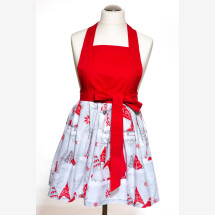 -Kitchen apron Cooking apron red elf Christmas present Handmade-21
