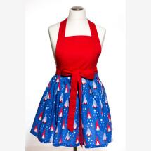 -Cooking apron Kitchen apron blue Christmas present Handmade elf-21