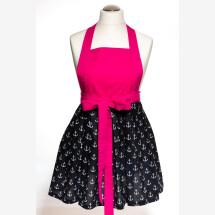 -Christmas present cooking apron kitchen apron anchor maritime pink black handmade-21