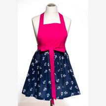 -Christmas present cooking apron handmade maritime anchor blue pink-21