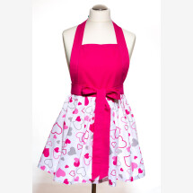 -Christmas gift cooking apron / kitchen apron for a modern woman Handmade pink heart-2