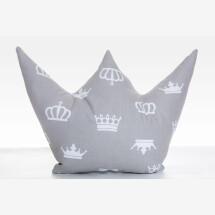 -Crown pillow prince princess gray white-21