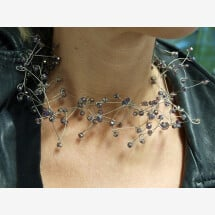 -Necklace made of glittering crystal glass and steel wire-22