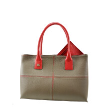 -Natalia tote bag taupe and red leather-24