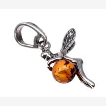 "-Silver pendant ""Amber Fairy""-22"