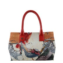 -Natalia Jacquard and leather Handbag Red-21