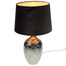 -Table lamp Billy silver with black lampshade E27-21