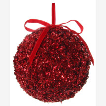-big red Christmas ball with sequins 12cm-20