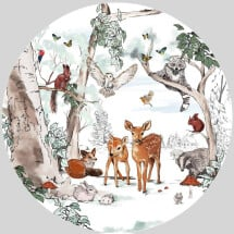 -Magical Forest Round Wall Sticker-21