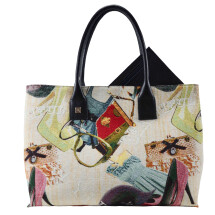 -Natalia Jacquard and leather Handbag-21