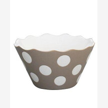 -Krasilnikoff MICRO HAPPY BOWL TAUPE WITH DOTS-20