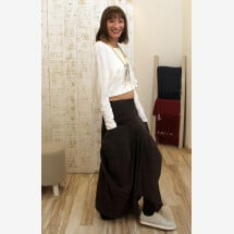 -Linen skirt with front pockets-21