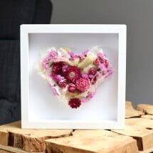 -Picture frame with dried flowers flower heart white-rose-pink as a gift-21