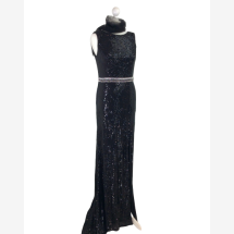 -Long evening dress with sequins and train-21