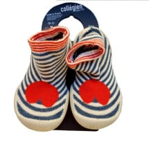 -College slippers with stripe red heart rubber sole-21