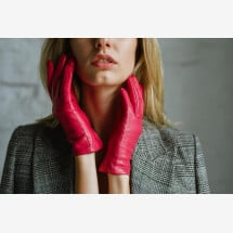 -Medina Womens Minimalist Leather Gloves in Hot Pink Nappa Leather-23