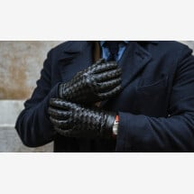 -Amalfi Mens Woven Leather Gloves in Black-21