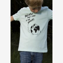 "-""Please take care of our planet"" T-shirt in organic cotton in caribbean blue-21"