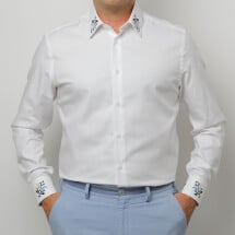 -Men white shirt with floral embroidery Gruia-21
