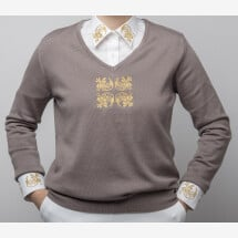 -Merino wool beige sweater with floral embroidery-21