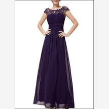 -Chiffon evening dress with lace and sleeves-21
