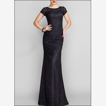 -Black lace evening dress with sleeves-22