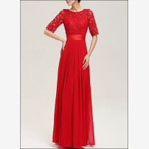 -Red evening dress with sleeves-21