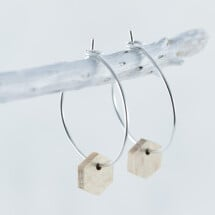 -Wooden Beech HEXAGON EARRINGS-21
