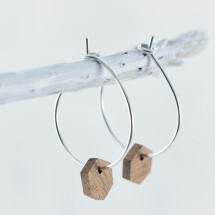 -Wooden Sapele HEXAGON EARRINGS-21