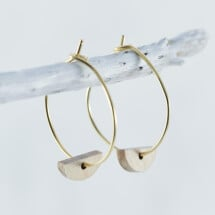 -Wooden beech HALBMOND earrings-21